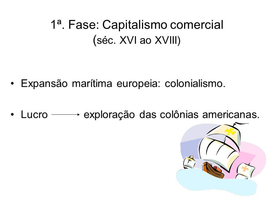 1ª. Fase: Capitalismo comercial (séc. XVI ao XVIII)