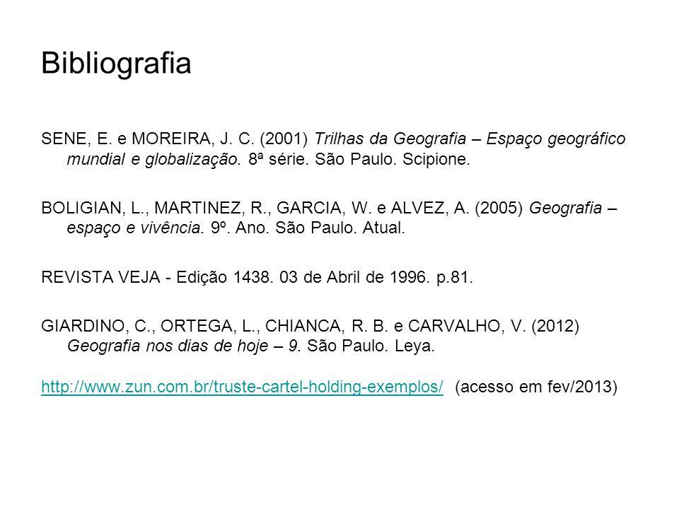 Bibliografia SENE, E. e MOREIRA, J. C. (2001) Trilhas da Geografia – Espaço geográfico mundial e globalização. 8ª série. São Paulo. Scipione.