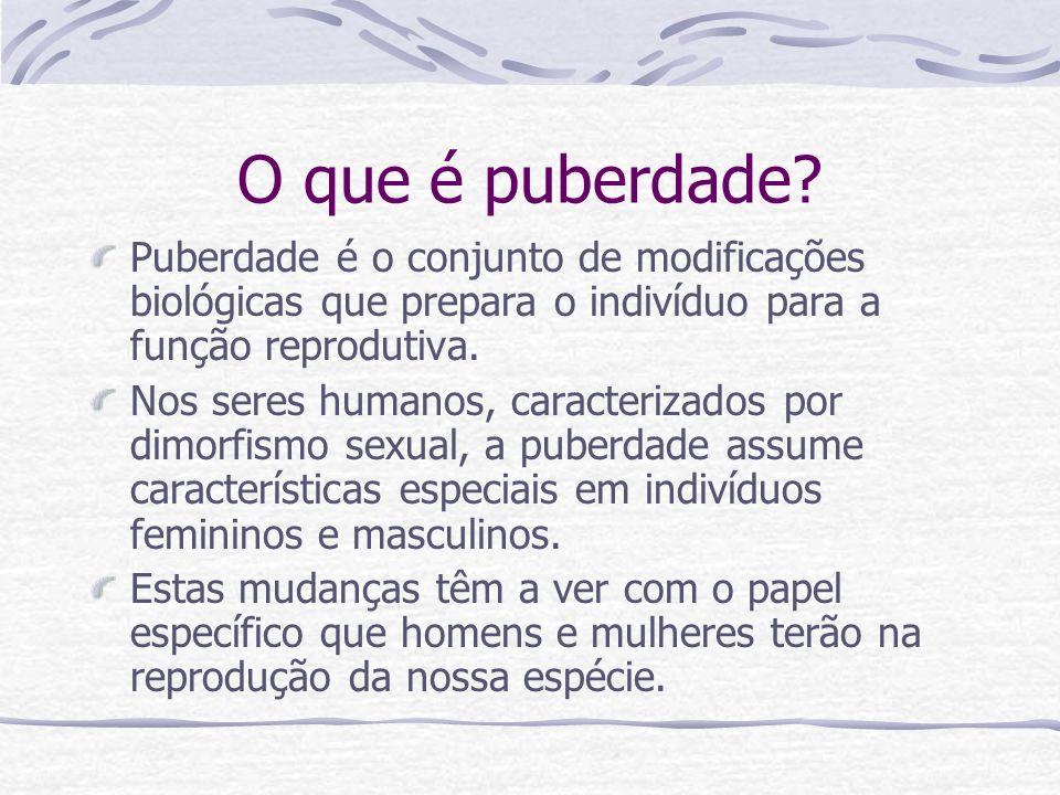 O que é puberdade Puberdade é o conjunto de modificações biológicas que prepara o indivíduo para a função reprodutiva.