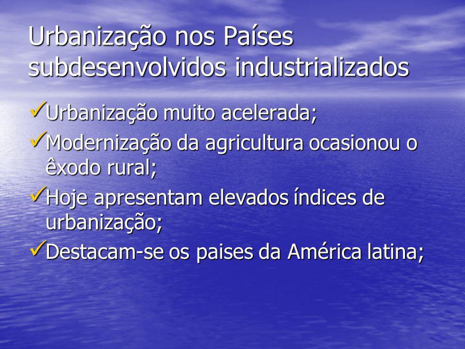 Urbanização nos Países subdesenvolvidos industrializados