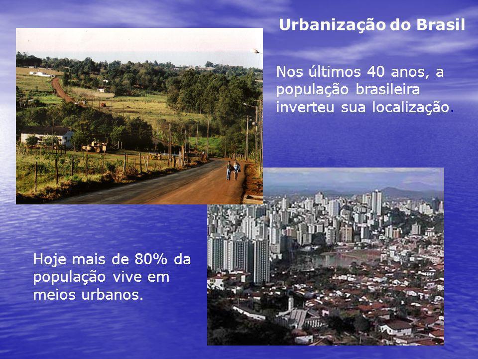Urbanização do Brasil Nos últimos 40 anos, a população brasileira inverteu sua localização.