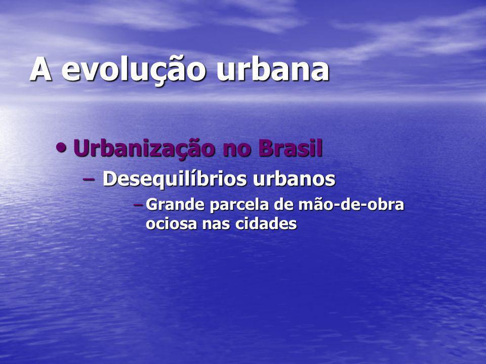 A evolução urbana Urbanização no Brasil Desequilíbrios urbanos
