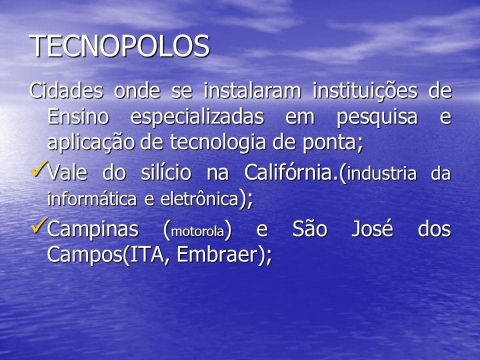 TECNOPOLOS Cidades onde se instalaram instituições de Ensino especializadas em pesquisa e aplicação de tecnologia de ponta;