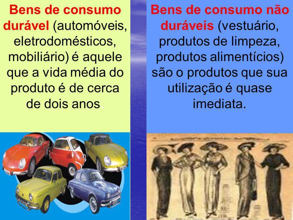Bens de consumo durável (automóveis, eletrodomésticos, mobiliário) é aquele que a vida média do produto é de cerca de dois anos.