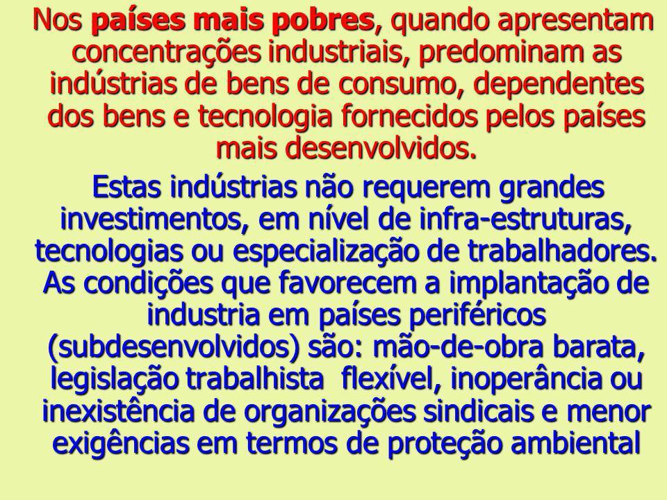 Nos países mais pobres, quando apresentam concentrações industriais, predominam as indústrias de bens de consumo, dependentes dos bens e tecnologia fornecidos pelos países mais desenvolvidos.