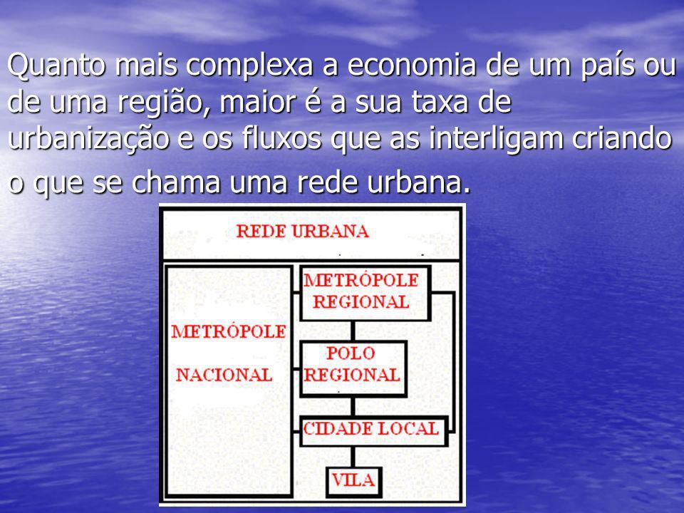 Quanto mais complexa a economia de um país ou de uma região, maior é a sua taxa de urbanização e os fluxos que as interligam criando o que se chama uma rede urbana.