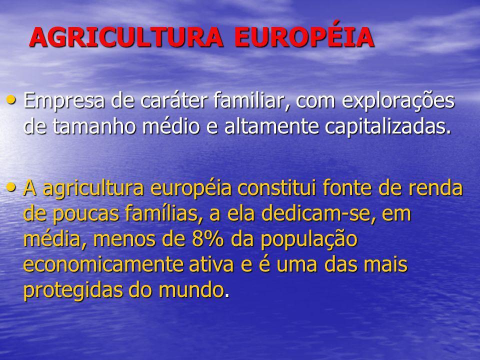 AGRICULTURA EUROPÉIA Empresa de caráter familiar, com explorações de tamanho médio e altamente capitalizadas.