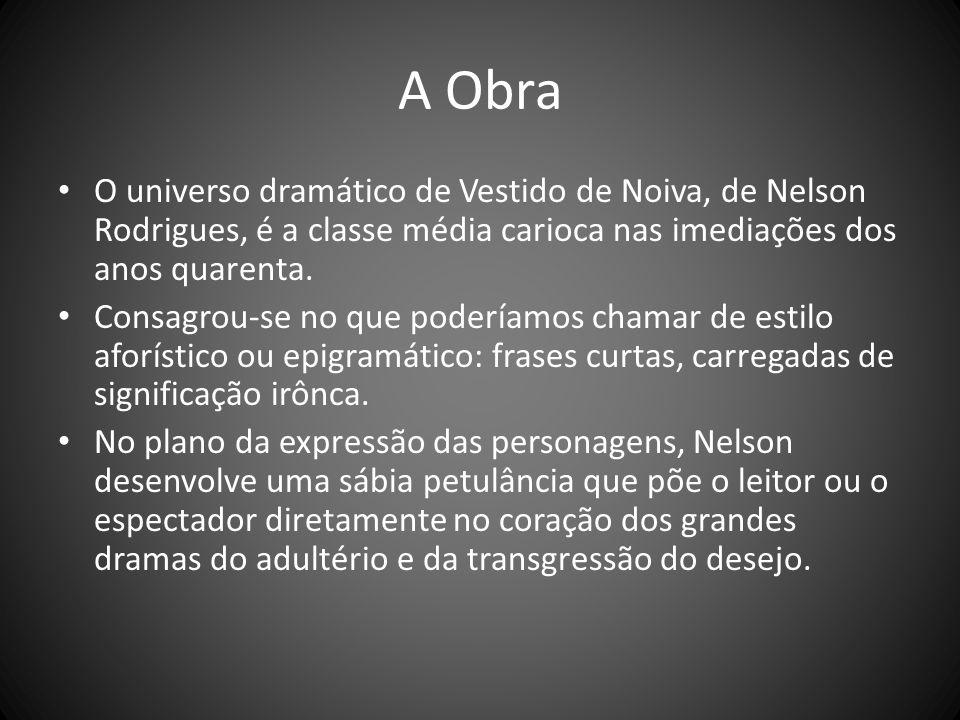 A ObraO universo dramático de Vestido de Noiva, de Nelson Rodrigues, é a classe média carioca nas imediações dos anos quarenta.