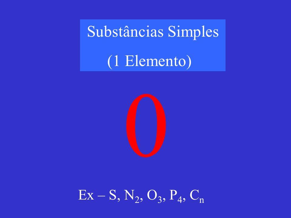 Substâncias Simples (1 Elemento) Ex – S, N2, O3, P4, Cn