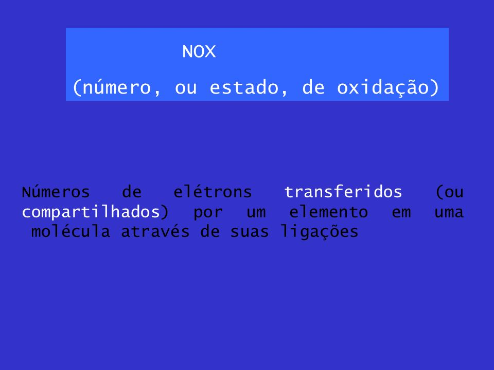 NOX (número, ou estado, de oxidação)
