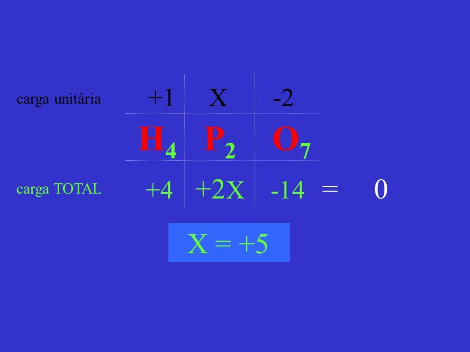 +1 X -2 carga unitária H4 P2 O7 +4 +2X -14 = 0 carga TOTAL X = +5