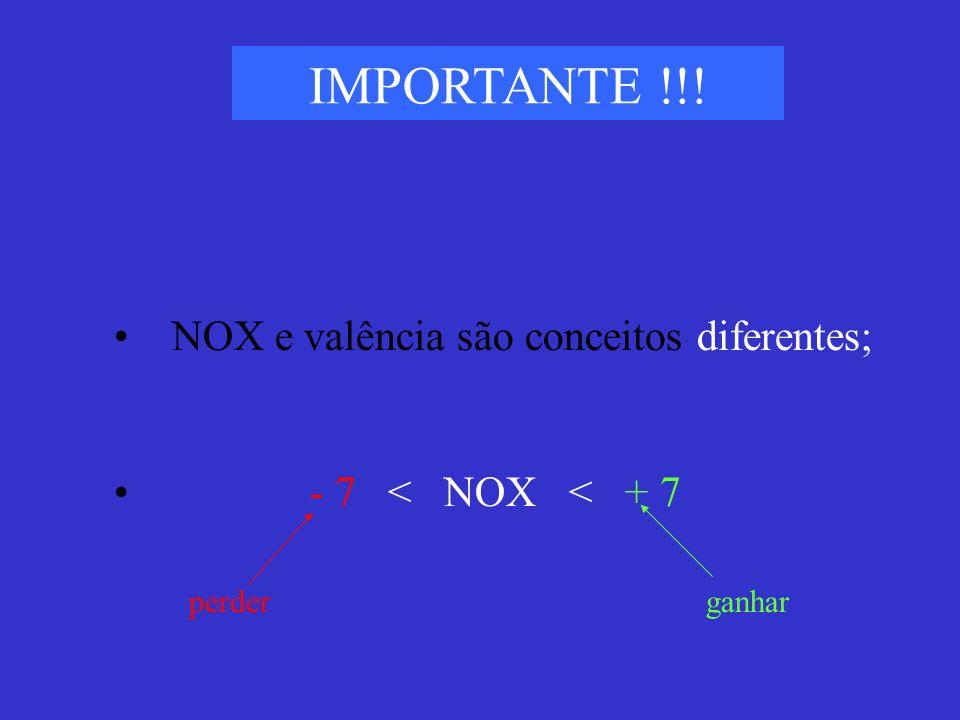 IMPORTANTE !!! NOX e valência são conceitos diferentes;