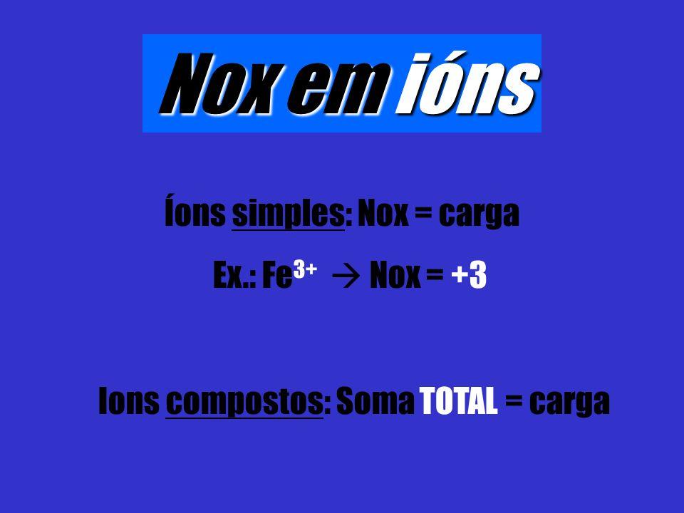 Nox em ións Íons simples: Nox = carga Ex.: Fe3+  Nox = +3