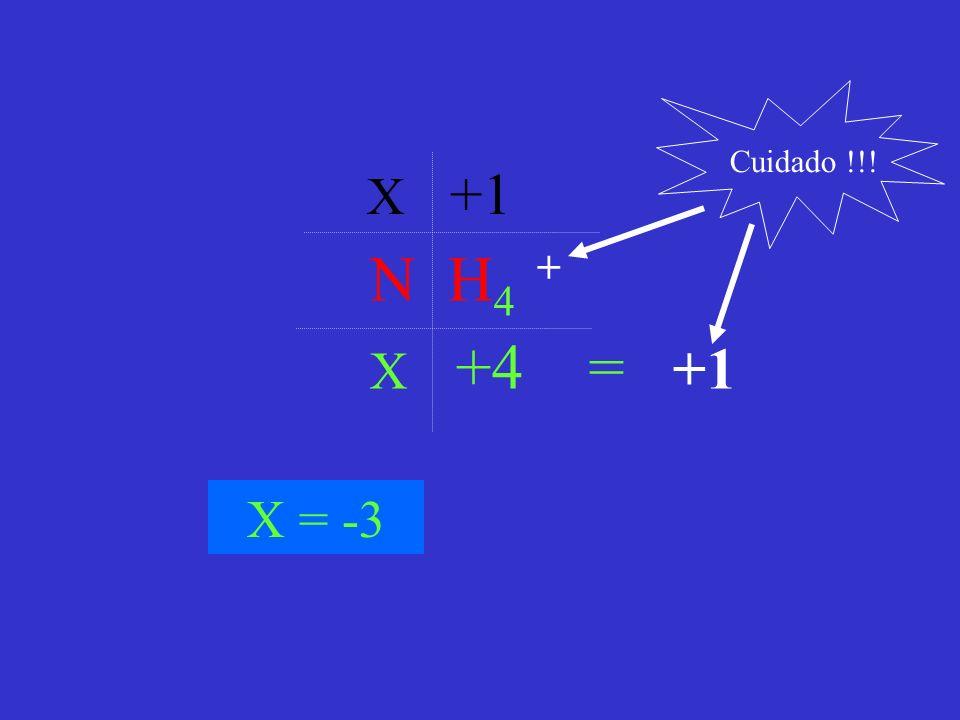 Cuidado !!! X +1 N H4 + X +4 = +1 X = -3
