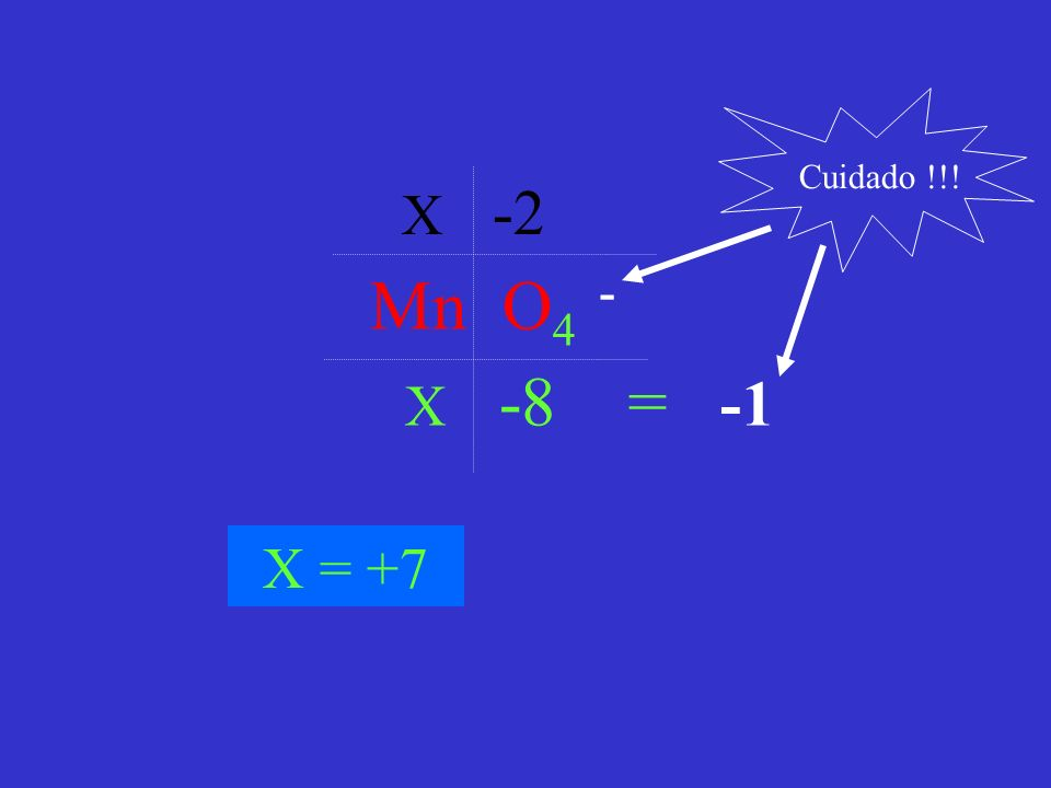 Cuidado !!! X -2 Mn O4 - X -8 = -1 X = +7