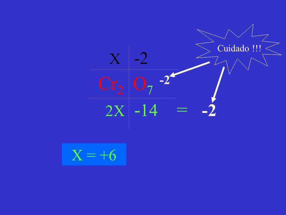 Cuidado !!! X -2 Cr2 O7 -2 2X -14 = -2 X = +6