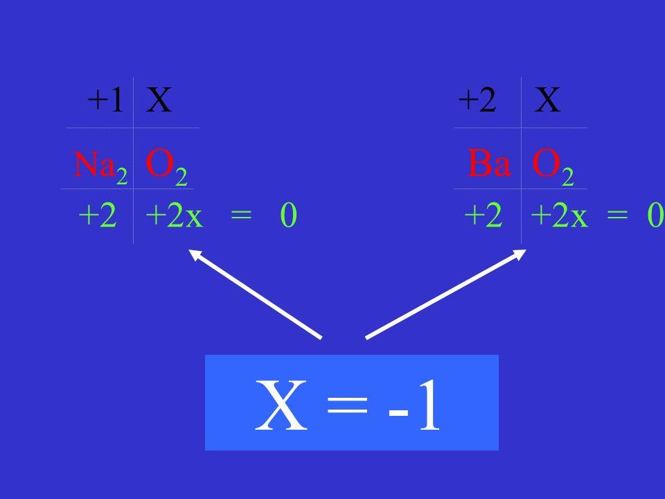 +1 X +2 X Na2 O2 Ba O2. +2 +2x = 0 +2 +2x = 0.