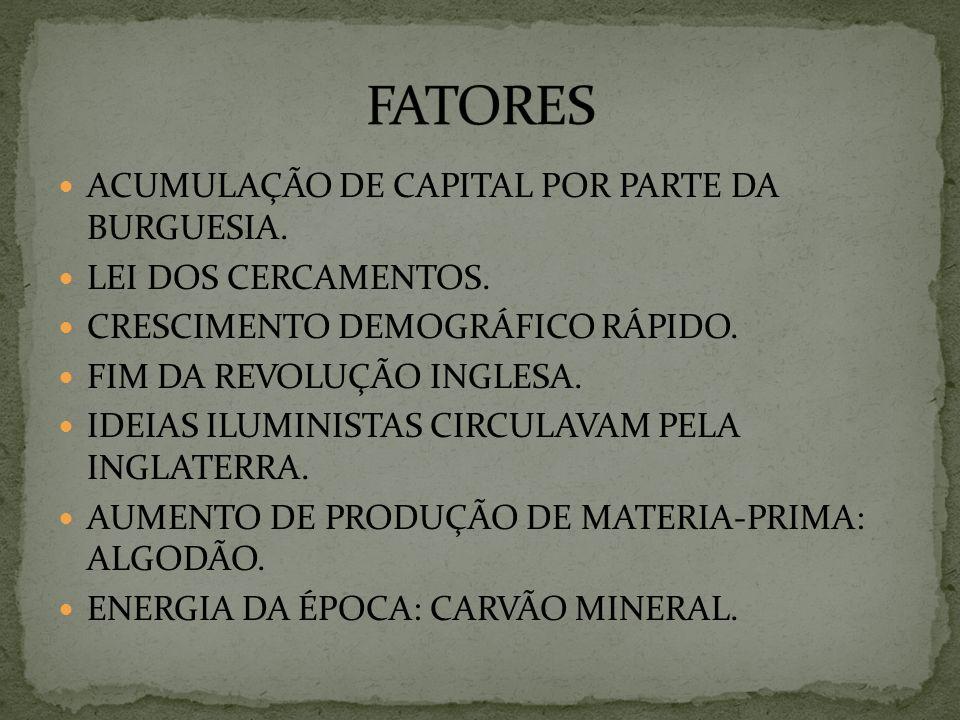 FATORES ACUMULAÇÃO DE CAPITAL POR PARTE DA BURGUESIA.
