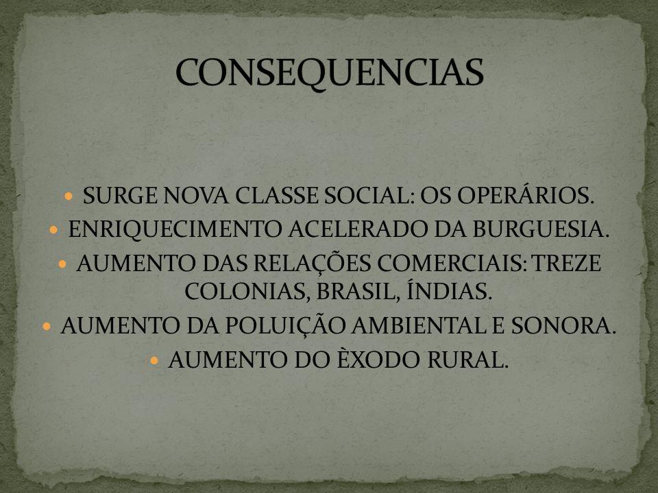 CONSEQUENCIAS SURGE NOVA CLASSE SOCIAL: OS OPERÁRIOS.