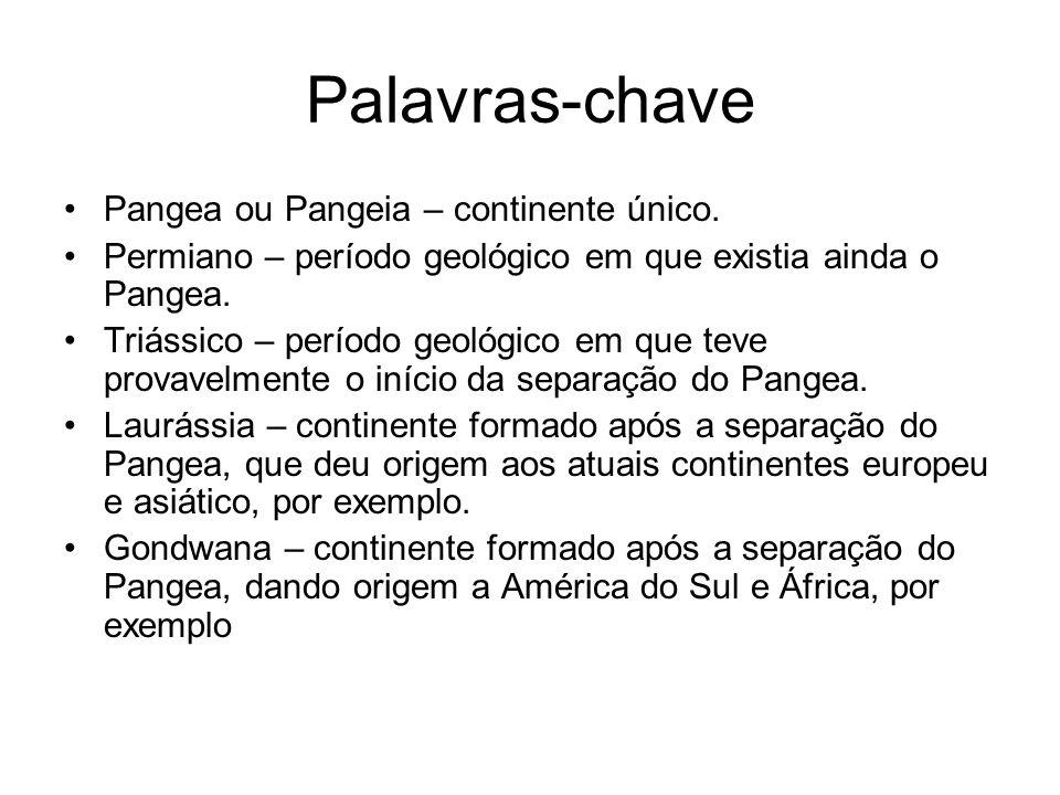 Palavras-chave Pangea ou Pangeia – continente único.