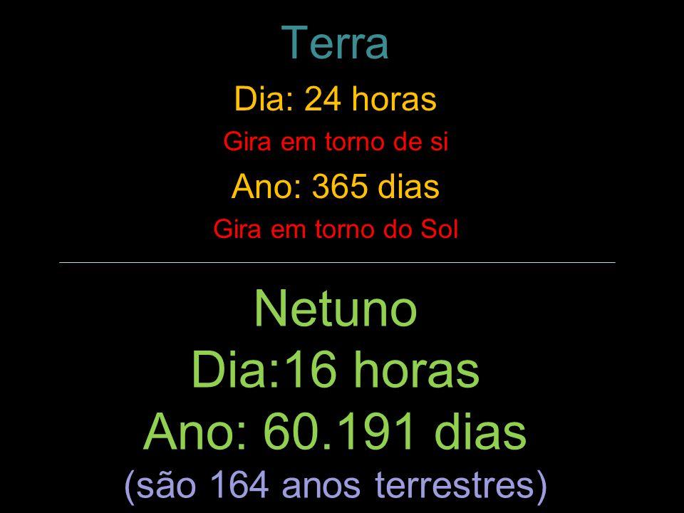 Netuno Dia:16 horas Ano: 60.191 dias Terra (são 164 anos terrestres)