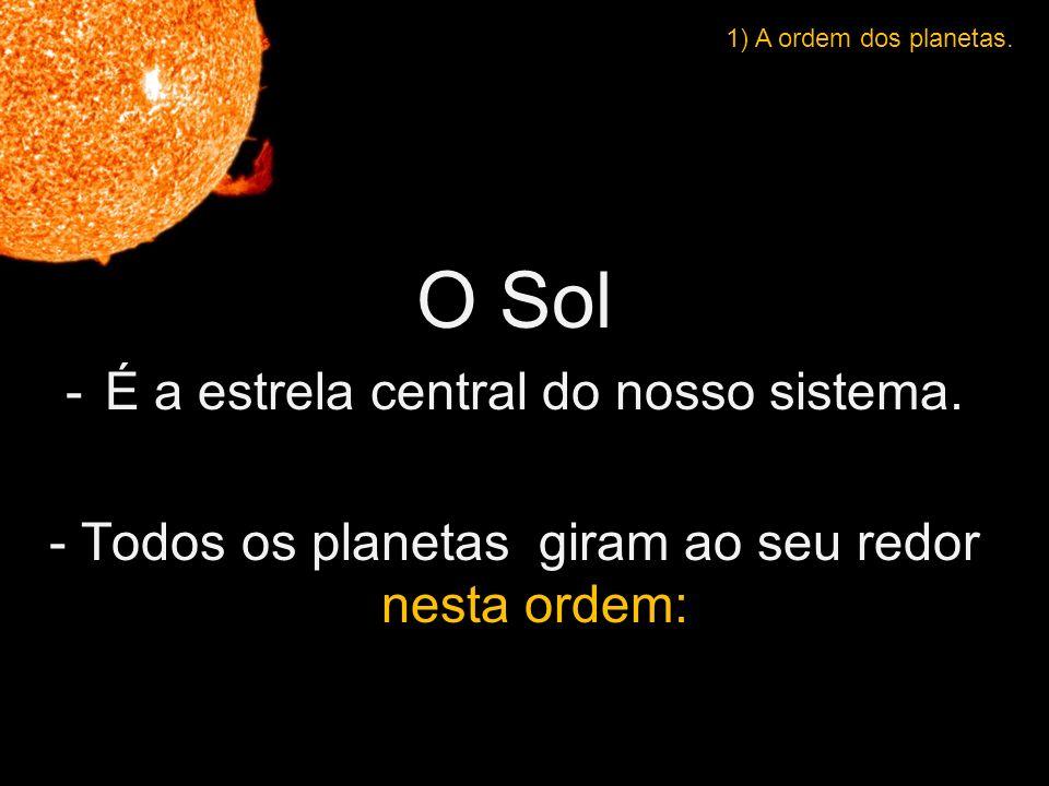 O Sol É a estrela central do nosso sistema.