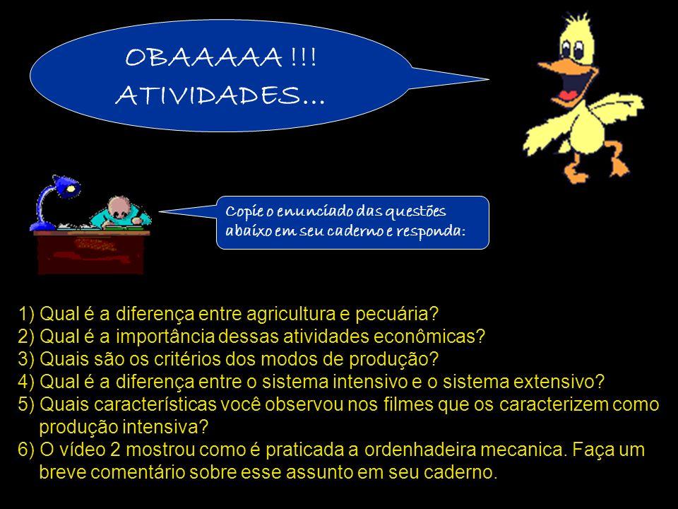 1) Qual é a diferença entre agricultura e pecuária
