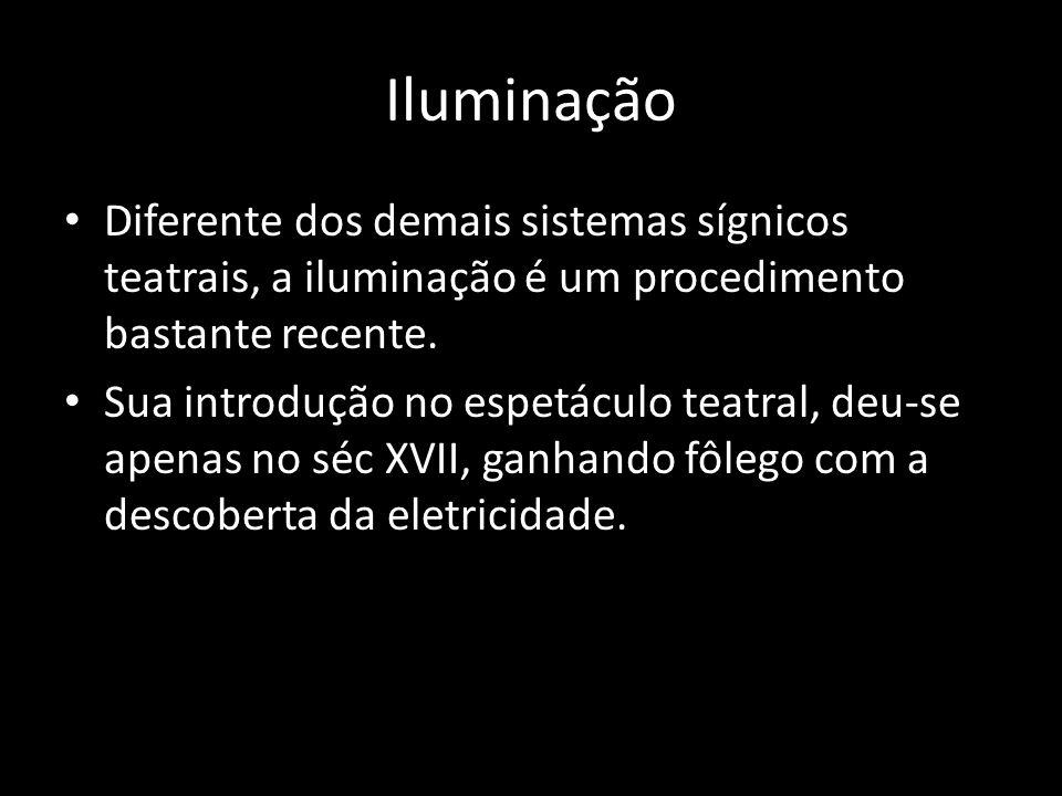 Iluminação Diferente dos demais sistemas sígnicos teatrais, a iluminação é um procedimento bastante recente.