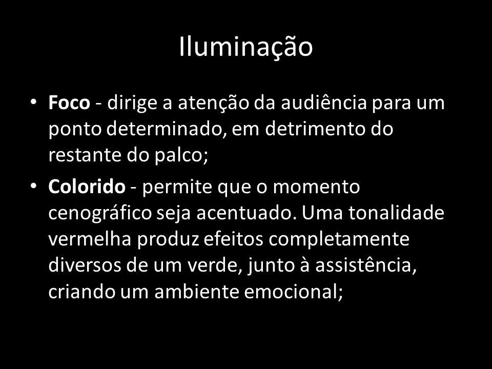 IluminaçãoFoco - dirige a atenção da audiência para um ponto determinado, em detrimento do restante do palco;