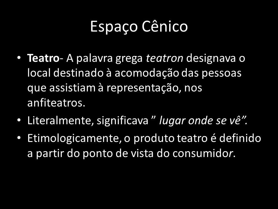 Espaço Cênico Teatro- A palavra grega teatron designava o local destinado à acomodação das pessoas que assistiam à representação, nos anfiteatros.