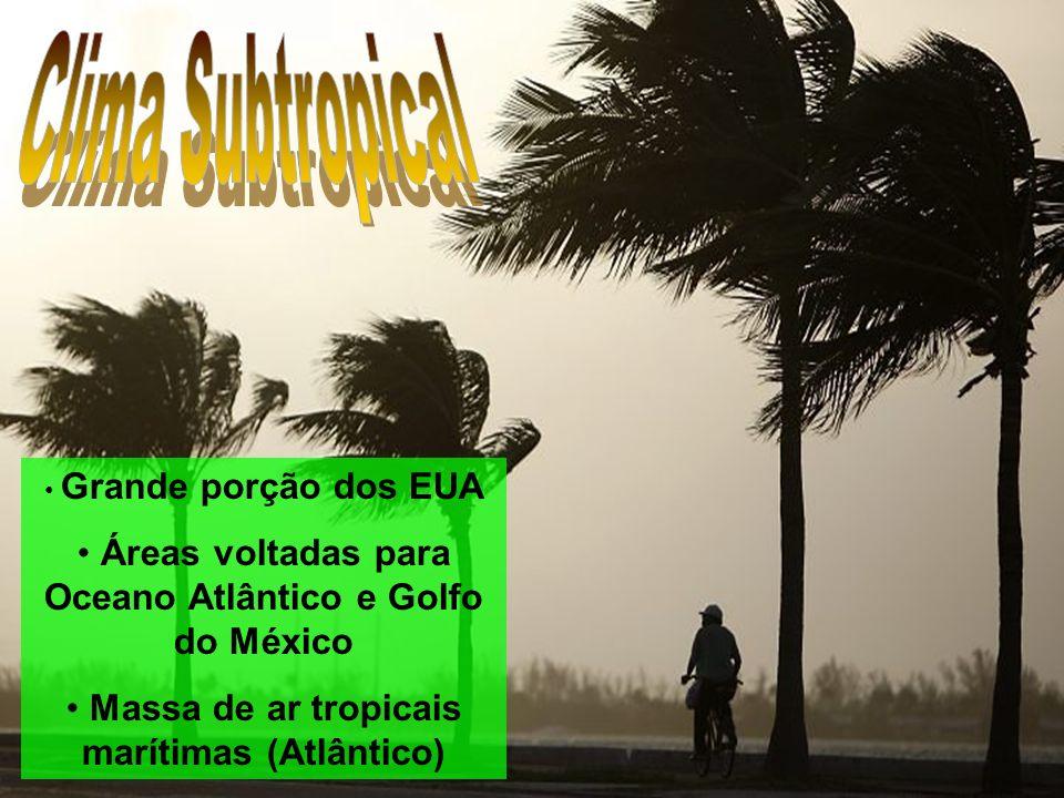 Clima Subtropical Grande porção dos EUA. Áreas voltadas para Oceano Atlântico e Golfo do México.