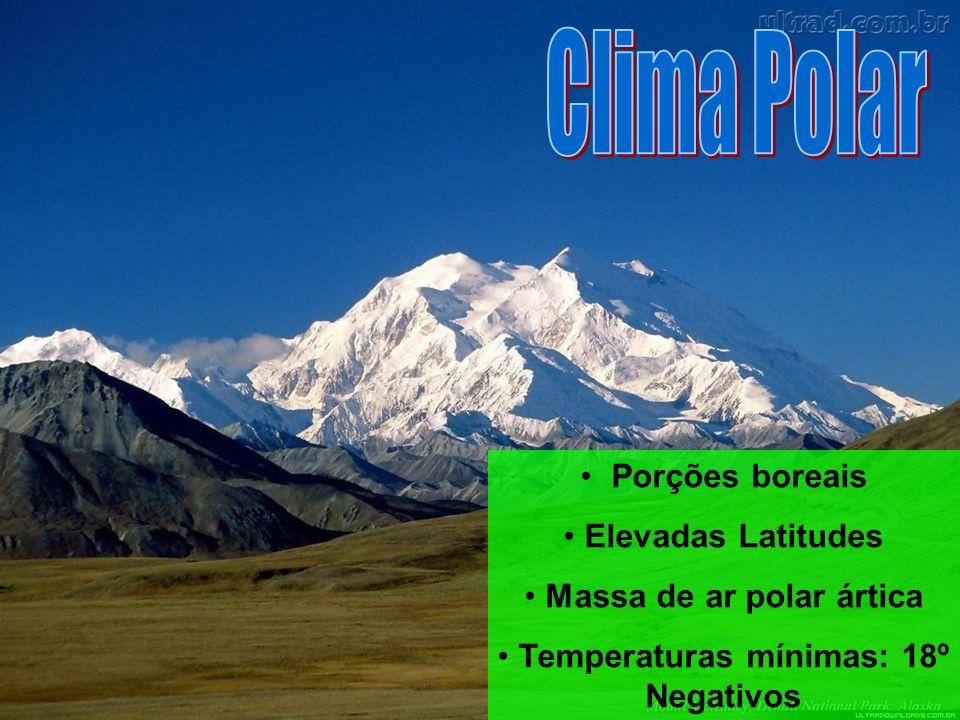 Massa de ar polar ártica Temperaturas mínimas: 18º Negativos