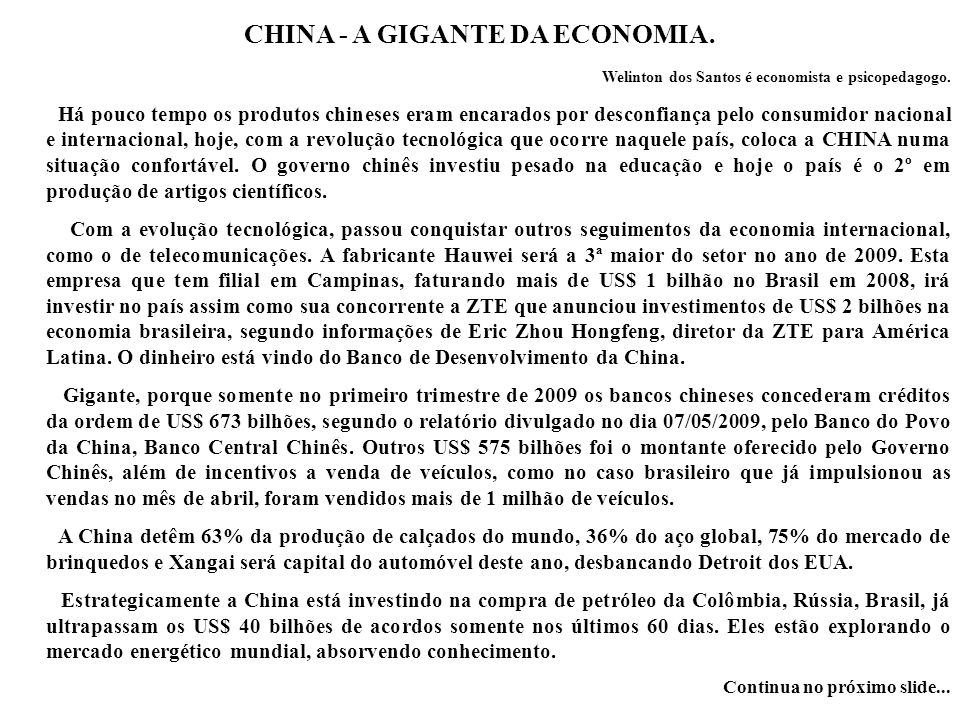 CHINA - A GIGANTE DA ECONOMIA.