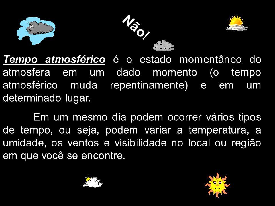 Não! Tempo atmosférico é o estado momentâneo do atmosfera em um dado momento (o tempo atmosférico muda repentinamente) e em um determinado lugar.