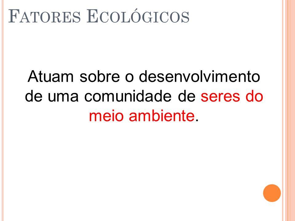 Fatores Ecológicos Atuam sobre o desenvolvimento de uma comunidade de seres do meio ambiente.