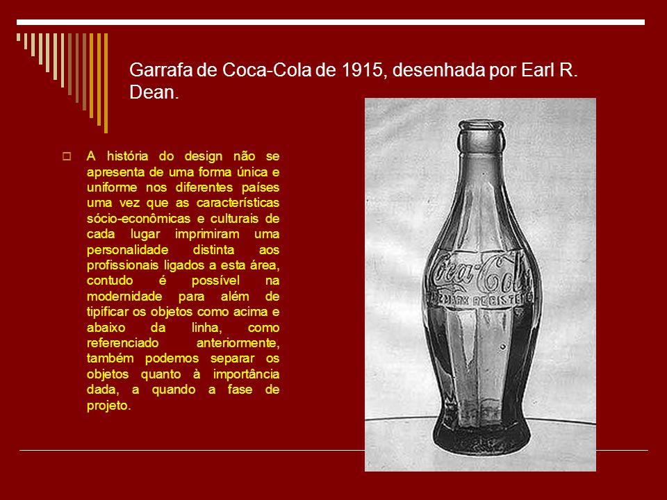 Garrafa de Coca-Cola de 1915, desenhada por Earl R. Dean.