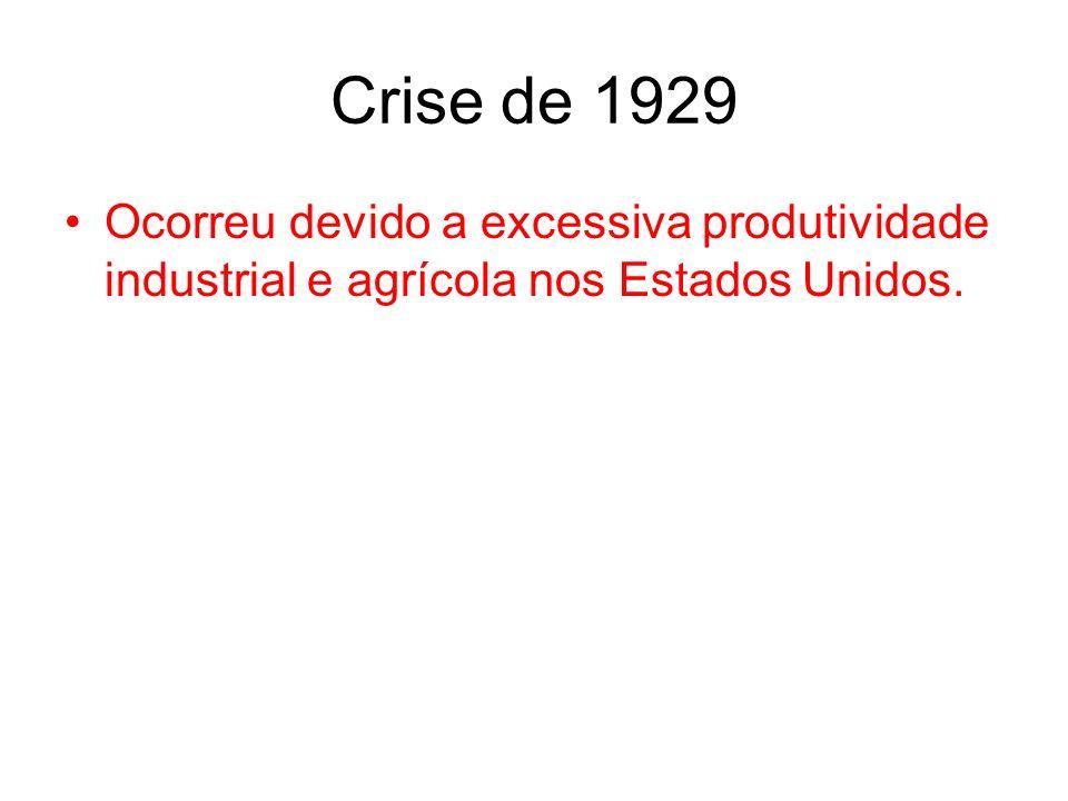 Crise de 1929 Ocorreu devido a excessiva produtividade industrial e agrícola nos Estados Unidos.