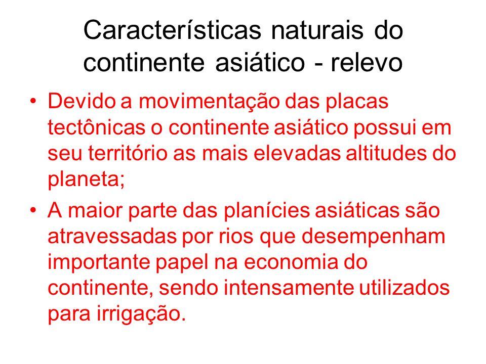 Características naturais do continente asiático - relevo