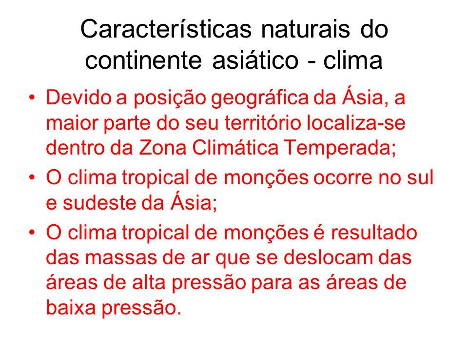 Características naturais do continente asiático - clima