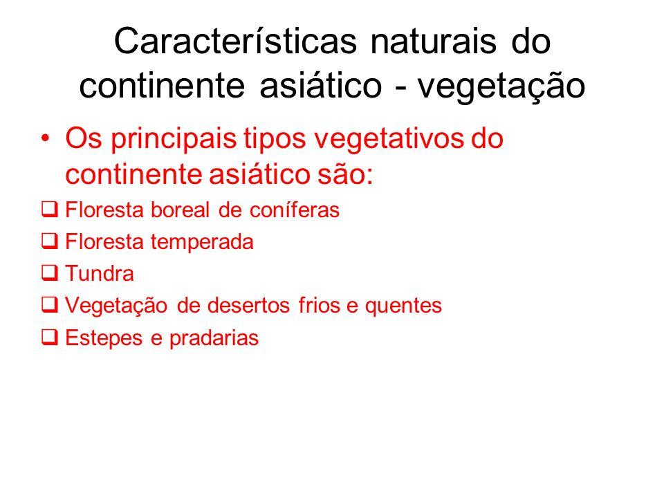 Características naturais do continente asiático - vegetação