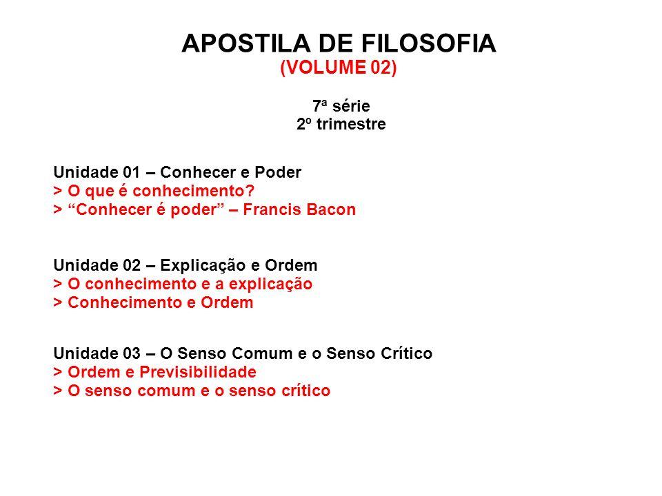 APOSTILA DE FILOSOFIA (VOLUME 02) 7ª série 2º trimestre