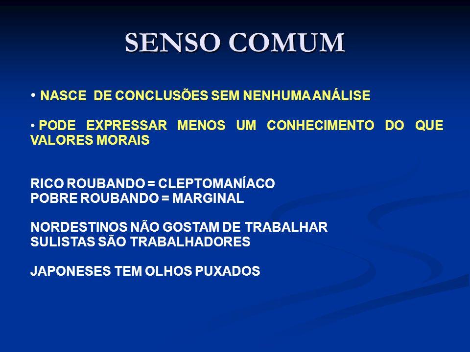 SENSO COMUM NASCE DE CONCLUSÕES SEM NENHUMA ANÁLISE