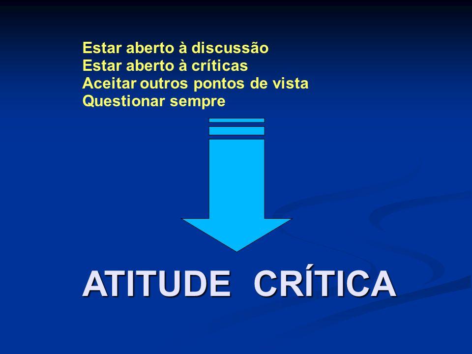 ATITUDE CRÍTICA Estar aberto à discussão Estar aberto à críticas