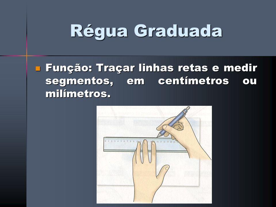 Régua Graduada Função: Traçar linhas retas e medir segmentos, em centímetros ou milímetros.