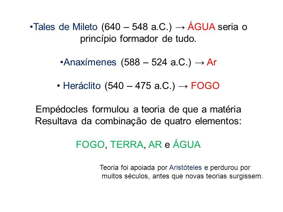 Tales de Mileto (640 – 548 a.C.) → ÁGUA seria o