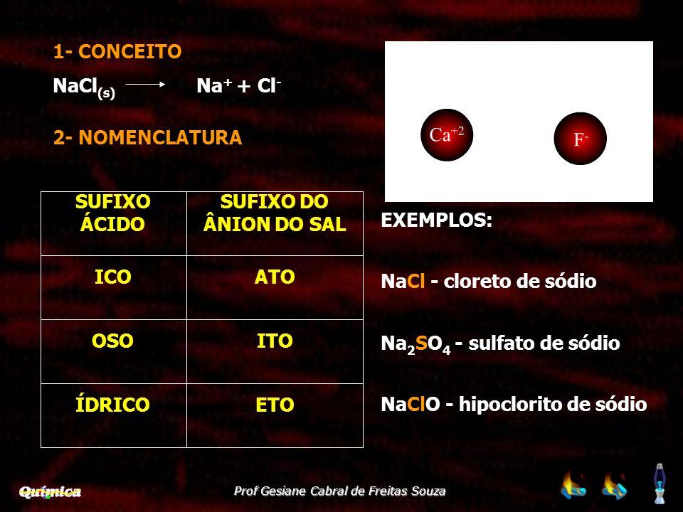 1- CONCEITO NaCl(s) Na+ + Cl- 2- NOMENCLATURA. EXEMPLOS: NaCl - cloreto de sódio. Na2SO4 - sulfato de sódio.