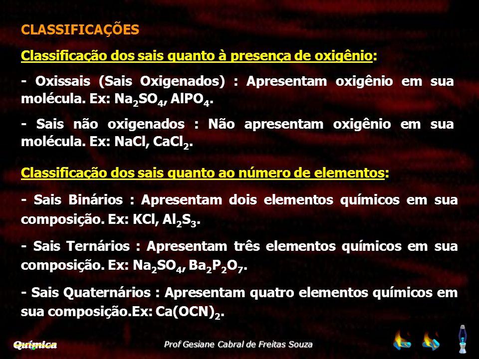 CLASSIFICAÇÕES Classificação dos sais quanto à presença de oxigênio: