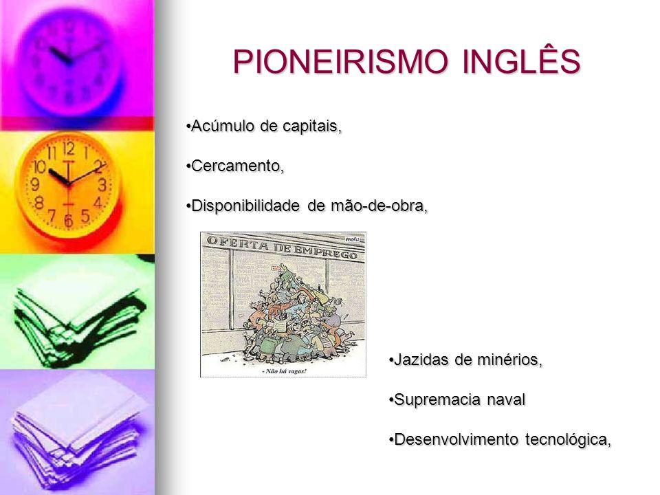 PIONEIRISMO INGLÊS Acúmulo de capitais, Cercamento,