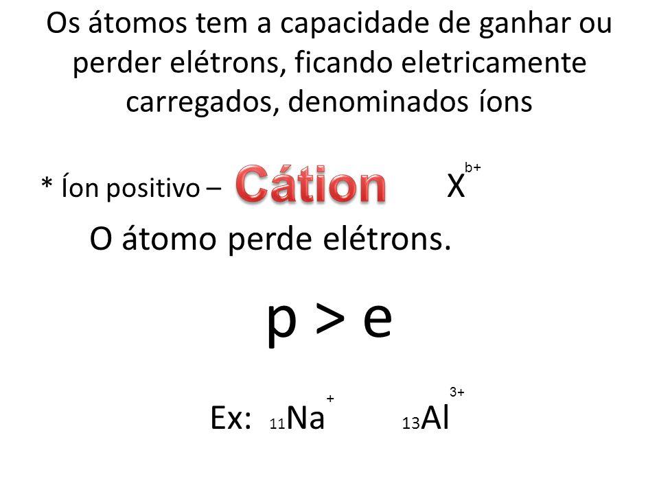p > e Cátion O átomo perde elétrons. Ex: 11Na 13Al