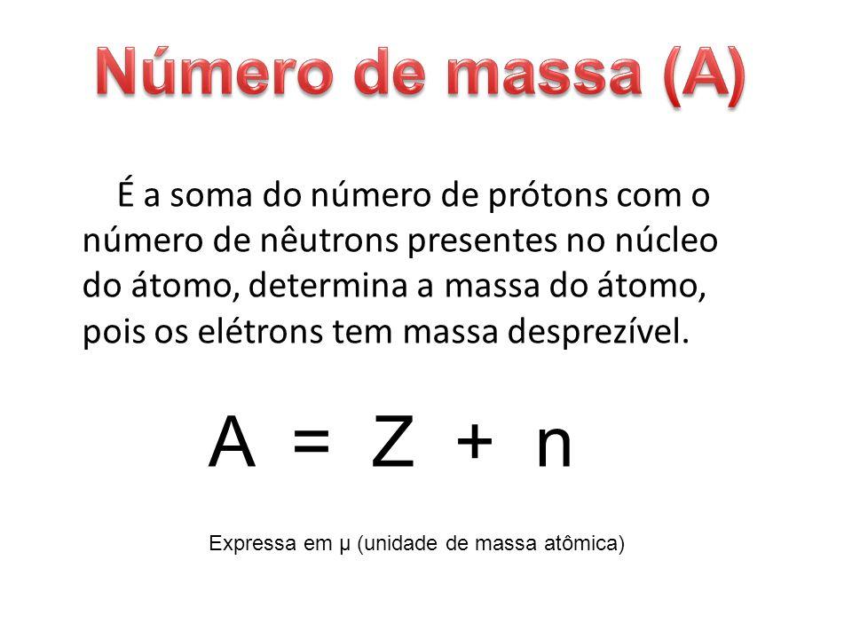 A = Z + n Número de massa (A)